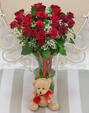 Arrangements:  Red Rose Vase and Teddy